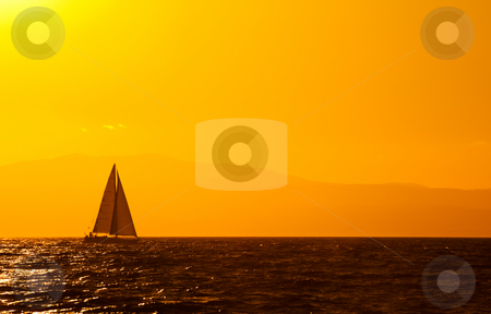 Sailing stock photo, A sailing boat travelling the Mediterranean late in the afternoon by Andreas Karelias