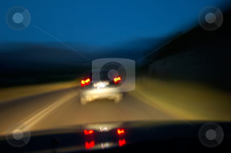 Drinking and driving stock photo, Image shows how the road ahead looks to someone driving under the influence of alcohol by Andreas Karelias