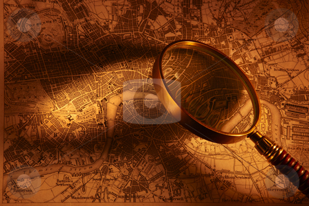 Antique map od London stock photo, Old map of London with magnifying glass by James Barber