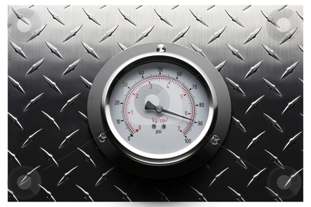 Pressure gauge still life stock photo, Pressure gauge mounted on textured stainless background by James Barber