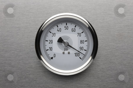 Pressure stock photo, Pressure gauge shot on stainless steel background by James Barber