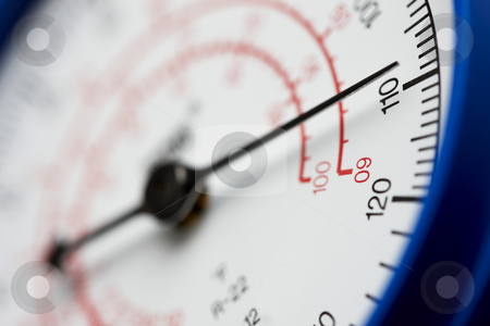 Under pressure stock photo, Pressure gauge shot at dramatic angle by James Barber