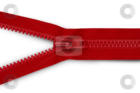 Red zipper opening stock photo, Close-up shot of red zipper opening by James Barber