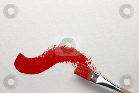 Red Brush Stroke stock photo, An artist's brush leaves a red brush stroke on canvas by James Barber