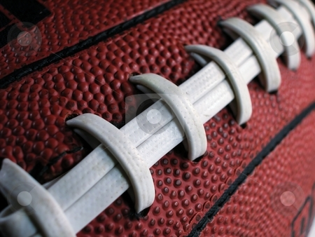 Football closeup stock photo, Close up of White Football Laces-Horizontal by Shane Morris