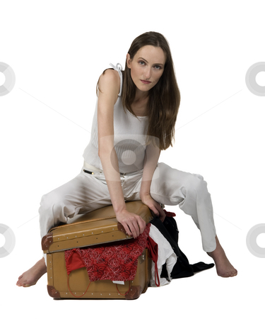 Travelling stock photo, Travel girl pack a suitcase, close up by Desislava Draganova