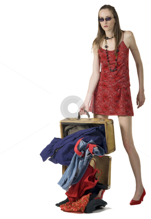 Lose Hold Of Luggage stock photo, Lose hold of luggage isolated on white by Desislava Draganova