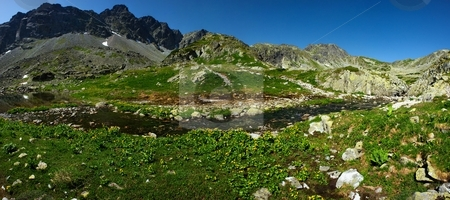 Mountains creek panorama stock photo, Panorama of mountain creek in sunny summer day with peaks in background by Juraj Kovacik