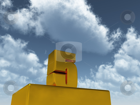 Golden five stock photo, The number five - 5 -  in front of blue sky - 3d illustration by J?