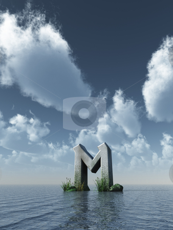 Rock rune stock photo, Viking rune rock at the ocean - 3d illustration by J?