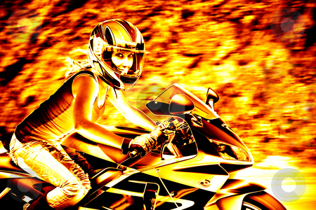 Flaming Biker Girl stock photo, A woman in action driving a motorcycle at highway speeds with a fiery effect. by Todd Arena