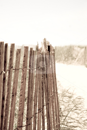 Beach Fence stock photo, Closeup of a row of fencing at the beach.  Shallow depth of field. by Todd Arena