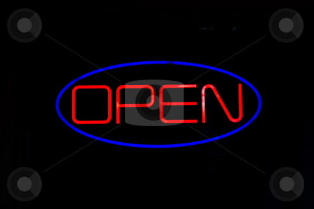 Neon OPEN Sign stock photo, A neon OPEN sign isolated over black. by Todd Arena