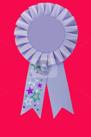 Rosette stock photo, Blank violet coloured rosette isolated with clipping path by Stephen Meese