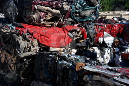 Crushed and Baled Cars stock photo, USA, Idaho, Boise, Pile of Crushed Cars in Junk Yard by David Ryan