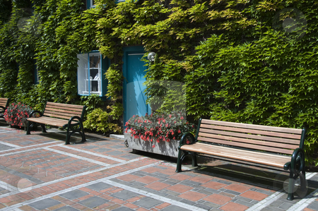 Outide place to sit  stock photo, Place to sit and relax in park with blue door between the green wall by Chris Willemsen