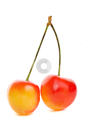 Rainier cherries stock photo, Delicious sweet rainier cherries on a white background by Steve Mcsweeny