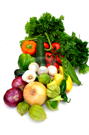 Assorted Vegetables On White stock photo, Fresh produce on a white background including red and yellow onions, tomatillos, cucumber, lettuce, cilatro, peas, sweet and hot peppers, tomatoes, zuchinni and summer squash by Lynn Bendickson