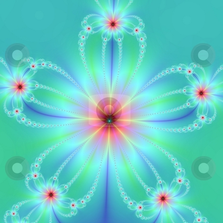 Five Petal Green And Blue Flower stock photo, Computer generated fractal image with a geometric floral design in green and blue. by Colin Forrest