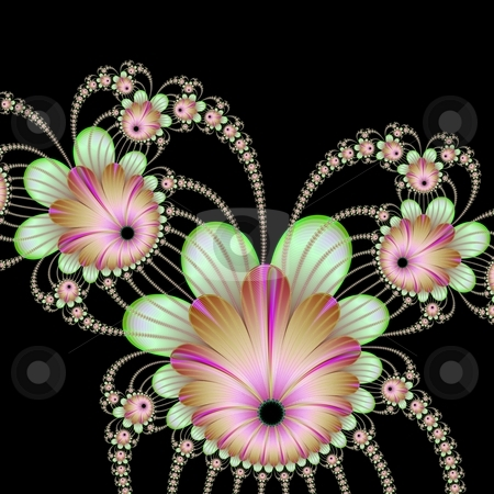 Strings Of Flowers On Black stock photo, Computer generated image with a string of flowers design in pink and green on a black background. by Colin Forrest