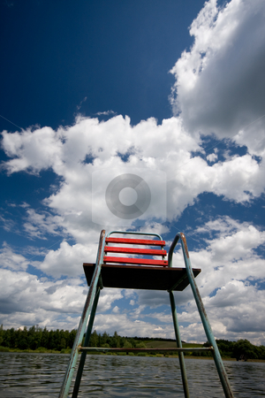 Red chair stock photo, Chair in a lake by Istv??n Cs??k