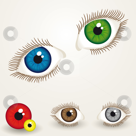 Eyes stock vector clipart, Collection of colorful eyes with easy to edit pupil by Karin Claus