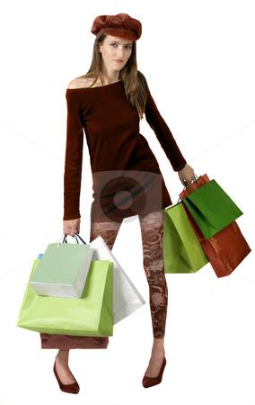 Shopping Mania stock photo, Shopping mania isolated on white one person by Desislava Draganova