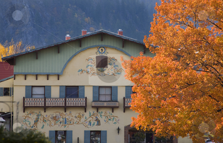 Fall Colors German Buildings Orange Maple Leaves Leavenworth Was stock photo, Fall Colors German Buildings Orange Maple Leaves Leavenworth Washington, October 10, 2008 by William Perry