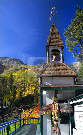 Fall Colors German Store Steeple Outside Leavenworth Washington stock photo, Fall Colors German Store Steeple Stevens Pass Leavenworth Washington, October 10, 2008 by William Perry