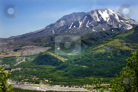 Green Mountains River  Mount Saint Helens National Park Washingt stock photo, Green Mountans River Snowy Mount Saint Helens Volcano National Park Washington by William Perry