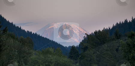 Mount Rainier from Issaquah Valley, Washington stock photo, Mount Rainier from Issaquah Valley, Washington State, at Sunset by William Perry