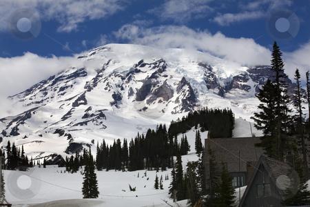 Mount Rainier Paradise Inn   stock photo, Mount Rainier Paradise Inn Snow Mountain by William Perry