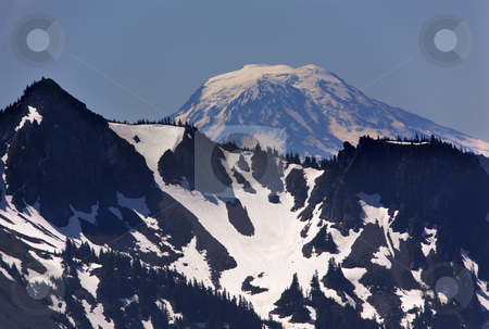 Mount Adams from Sunrise Mount Rainier stock photo, Mount Adams from Sunrise Mount Rainier Snow Mountain by William Perry