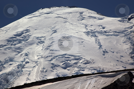 Close Up Mount Rainier Sunrise stock photo, Close Up Mount Rainier From Sunrise Northside Snow Mountain Glaciers on July 4th by William Perry