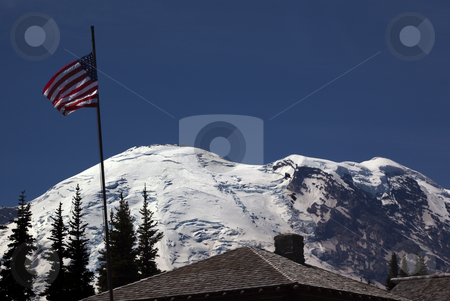 Mount Rainier Sunrise July 4th with Flag  stock photo, Mount Rainier Sunrise July 4th Independence Day with Flag Picnic Time Snow Mountain by William Perry