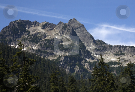Denny Mountain Alpental Snoqualme Pass, Washington, Summer stock photo, Denny Mountain, Snoqualme Pass, Alpental, Washington, Northwest, Summer with patches of snow in August by William Perry