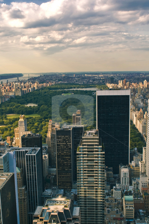 Skyscrapers stock photo, Skyscrapers and Central Park in New York by Fredrik Elfdahl