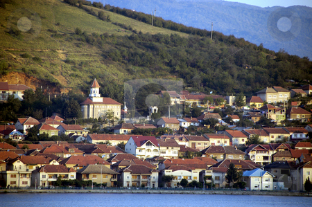 Serbian Village on the Danube stock photo, Serbia, A town on the banks of the Danube River by David Ryan