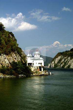 Mracuna Monastery stock photo, Romania, Iron Gate gorge, Manastirea Mracuna (Mracuna Monastery) on the Danube River by David Ryan