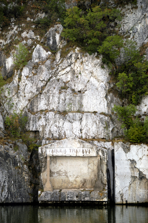 The Tabula Traiana stock photo, Serbia, Iron Gate gorge, Danube River, The Tabula Traiana, A memorial of the military road built by the Romans (2nd cent.) AD by David Ryan