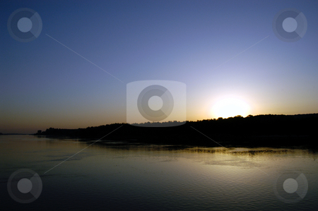Sunset on the Serbian Danube stock photo, Serbia, Sunset on the Danube River by David Ryan