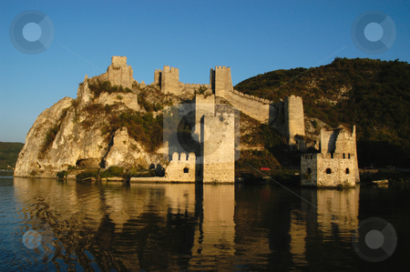 Golubac Fortress stock photo, Serbia, The Iron Gate of the Danube River, Golubac Fortress (14th Cent) by David Ryan