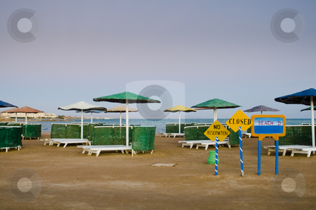 Closed beach stock photo, Closed beach with signs by Fredrik Elfdahl