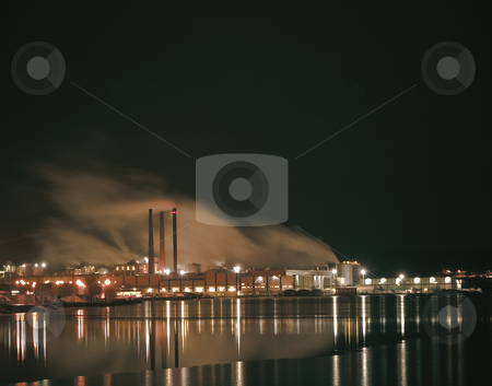 Industry stock photo, A large industry by the water by Fredrik Elfdahl