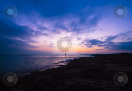 Lovely sunset stock photo, Lovely sunset on the beach by Fredrik Elfdahl