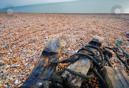 Sea and wood stock photo, English channel and a wodden cover by Fredrik Elfdahl