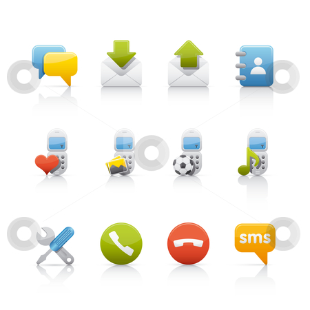 Icon Set - Comunications stock vector clipart, Set of icons on white background in Adobe Illustrator EPS 8 format for multiple applications. by Sebasti??n Al?