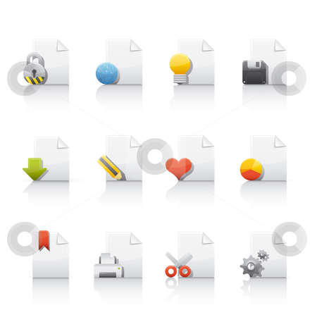 Icon Set - Document Files stock vector clipart, Set of icons on white background in Adobe Illustrator EPS 8 format for multiple applications. by Sebasti??n Al?