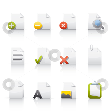 Icon Set - Document Files 2 stock vector clipart, Set of icons on white background in Adobe Illustrator EPS 8 format for multiple applications. by Sebasti??n Al?
