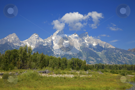 Grand Teton National Park stock photo, Grand Teton National Park in the Summer with blue skys by Mark Smith